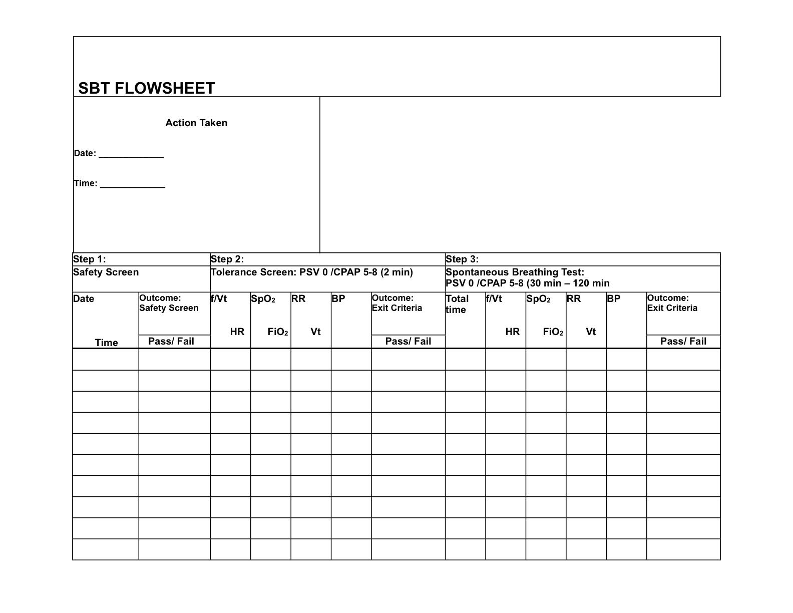 Ventilator Flow Sheet Sample : Spontaneous breathing trial worksheet