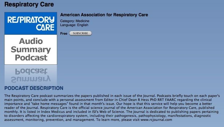 Free Podcasts on iTunes featuring Respiratory Care Magazine
